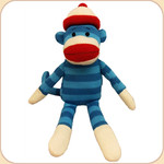 Striped Sock Monkey--Blue
