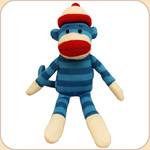 Striped Sock Monkey--Blue
