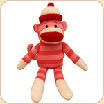 Striped Sock Monkey--Pink