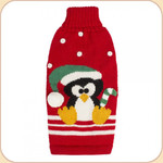 Penguin Alpaca Sleeveless Sweater--on red