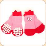 EB Non-Slip Socks in Red/Pink--x4