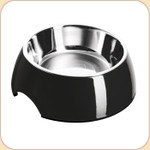 Melamine Feeding Bowl w/ Stainless Liner--Black
