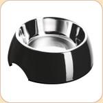 Melamine Feeding Bowl w/ Stainless Liner--Black