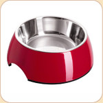 Melamine Feeding Bowl w/ Stainless Liner--Red