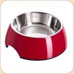 Melamine Feeding Bowl w/ Stainless Liner--Red