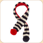 Knit Scarf with Pom Poms Navy &amp; Red