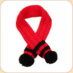 Red & Black Stripe Knit Pom Pom Scarf