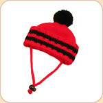 Red & Black Stripe Knit Pom Pom Hat