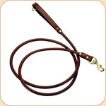 Rolled Leather Snap Leash Chestnut