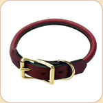 Rolled Leather Buckle Collar--Chestnut
