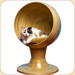The Kitty Ball Pedestal Bed in Bamboo