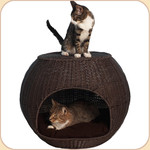 The Igloo Bed in Faux Rattan