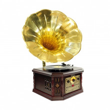 Pyle PVNP4CD Vintage Phonograph Horn Turntable With CD, Cassette, AM/FM, Aux-In, USB-to-PC Recording, FREE SHIPPING