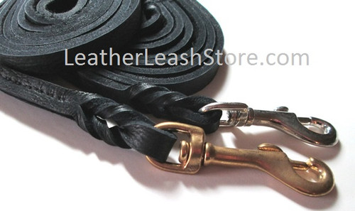 Black 8-9 Ft. Long Soft Bullhide Dog Leash Shown with Brass and Chrome Snap