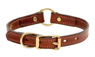 """Leather Dog Hunting Collar - English Bridle Leather - 3/4"""" Wide"""