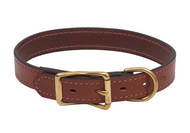 "Leather Buckle Dog Collar - English Bridle Leather - 1"" Wide"