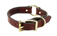 "Leather Dog Hunting Collar - English Bridle Leather - 1"" Wide"