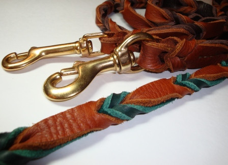 Chevron Braided Leash Tobacco and Teal