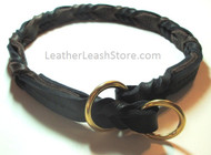 Chevron Braided Choke Collar Black and Chocolate Brown with Brass Rings