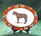 """Hunter Horse"" Floral Rim Oval Serving Platter"