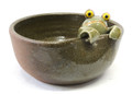 Brown Water Bowl with Frog