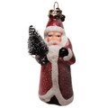 Hand Painted Glass Santa Ornament