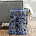 Sculpted Cloud Ceramic Garden Stool Blue