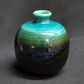 Turquoise Black Round Bud Vase
