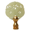 Bat & 2 Coins Green Jade Finial