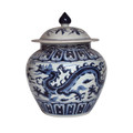 B&W Ginger Jar W/ Dragon Motif