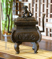 Bronze Retangular Fu Dog Incense Burner