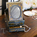 Black leather jewelry box with gold hand painting and stencil work