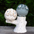 Granite Stone Owls On Treetops