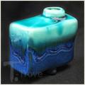 Ocean Blue Legged Bud Vase