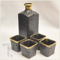 24 Karat Gold and Black Sake Set