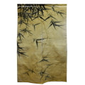 Bamboo Leaves Tan Linen Noren