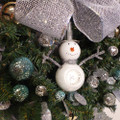 Glass snowman ornament with silver tall hat