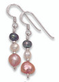 Silver beads & Salmon pink Freshwater Pearl Earrings 4023E1