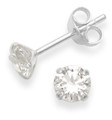 Silver Cubic Zirconia Round Stud Earrings Clear colour 5769CZ