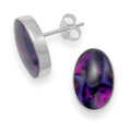 Silver Dyed Purple Paua Shell Stud Earrings 5848PS