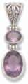 Silver REAL Amethyst 2 stone pendant 8284AME. Last few - Greatly reduced to clear