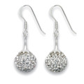 Silver Clear Crystal 11mm Ball drop earrings with ornate top 4811DROP-CL