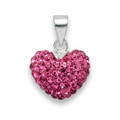 Silver Heart pendant 11 x 14mm - many tiny crystals - PINK 4805PK