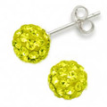 Silver Large Crystal ball stud 10mm, many tiny crystals - Vibrant Yellow 4604YEL