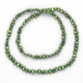 "Many freshwater pearls elasticated Necklace - Green 18"" -each pearl approx 4mm x 6mm 8424GRN"