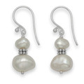 Silver Double freshwater pearl drop with silver beads - white 20mm x 9mm 7025WH