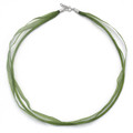 """Silver Double Ribbon & Cord Necklace, Silver Clasp & fittings 18""""  - Green 4060GRN/18"""