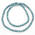 "Many Freshwater Pearls elasticated Necklace - Turquoise 18"" - Pearl size 5mm x 7mm - 8426TQ"