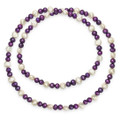 "Many Freshwater Pearls elasticated Necklace - Purple/white - 20"" - 8427PP"
