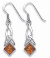 Amber Celtic Sterling Silver drop Earrings 20mm x 9mm excludinig fittings. 7114AMB
